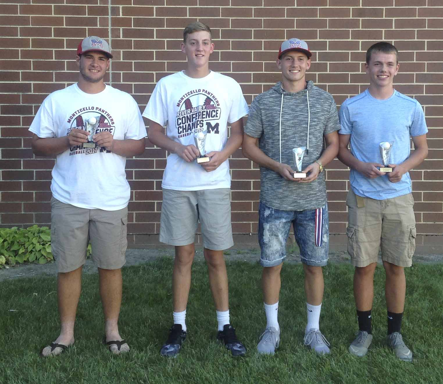Cy Young Award winners, from left: Ryan Manternach, Kegan Arduser, Andrew Mescher and Kyle Sperfslage.