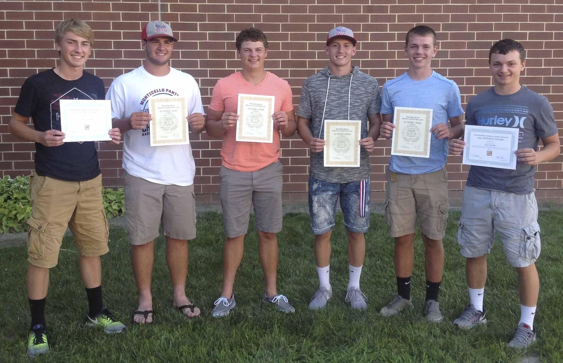 The Monticello High School baseball team held its annual awards banquet July 30 at MHS. Earning All-District honors, from left: Tyler Hospodarsky, Ryan Manternach, Jacob Manternach, Andrew Mescher, Kyle Sperfslage and Alex Kremer. (Photos courtesy of Adriel Soper)