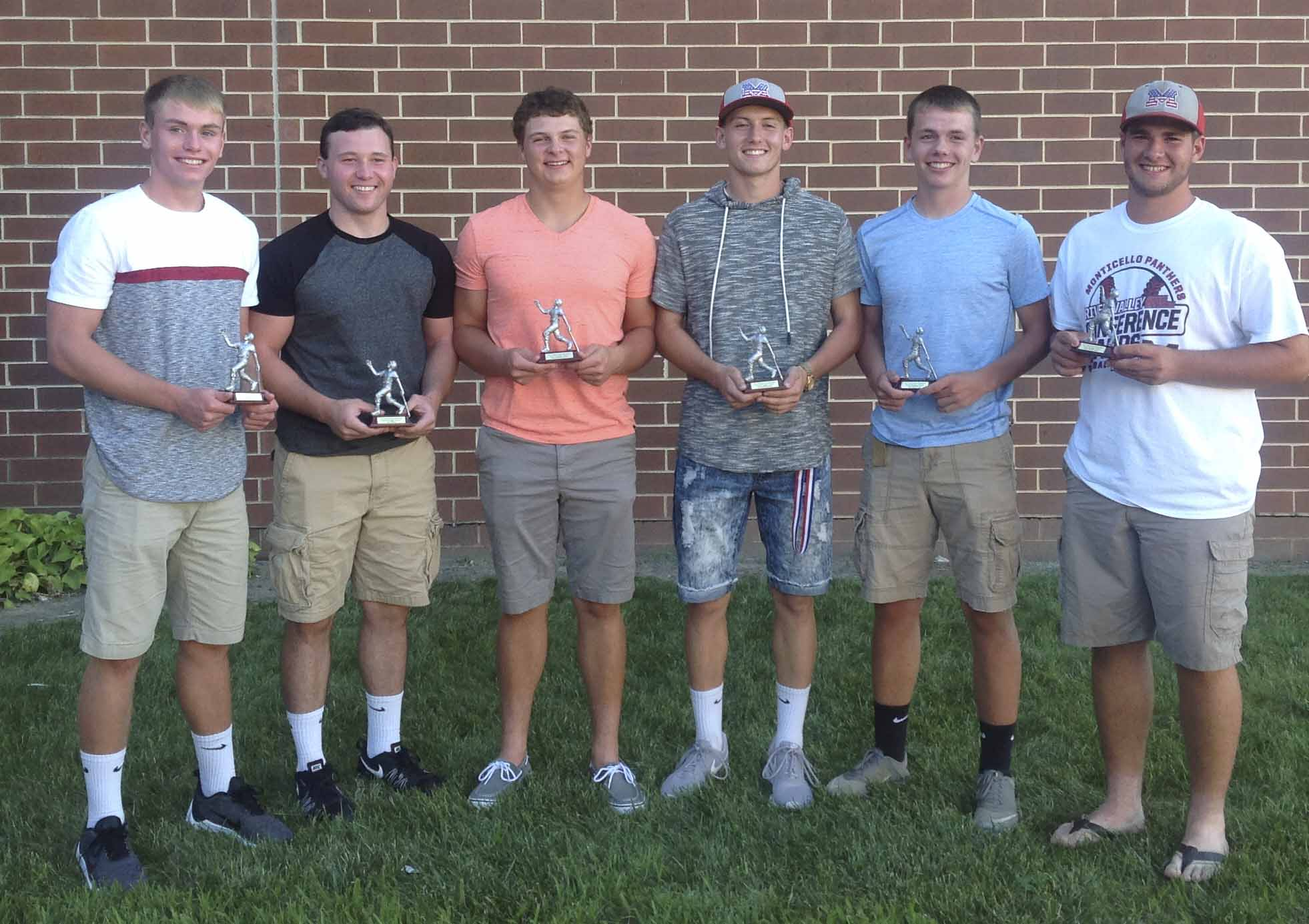 Silver Slugger Award winners, from left: Gavin Cooper, Jon Mootz, Jacob Manternach, Andrew Mescher, Kyle Sperfslage and Ryan Manternach. Jacob Manternach also earned the award for Highest Quality At Bat Percentage.