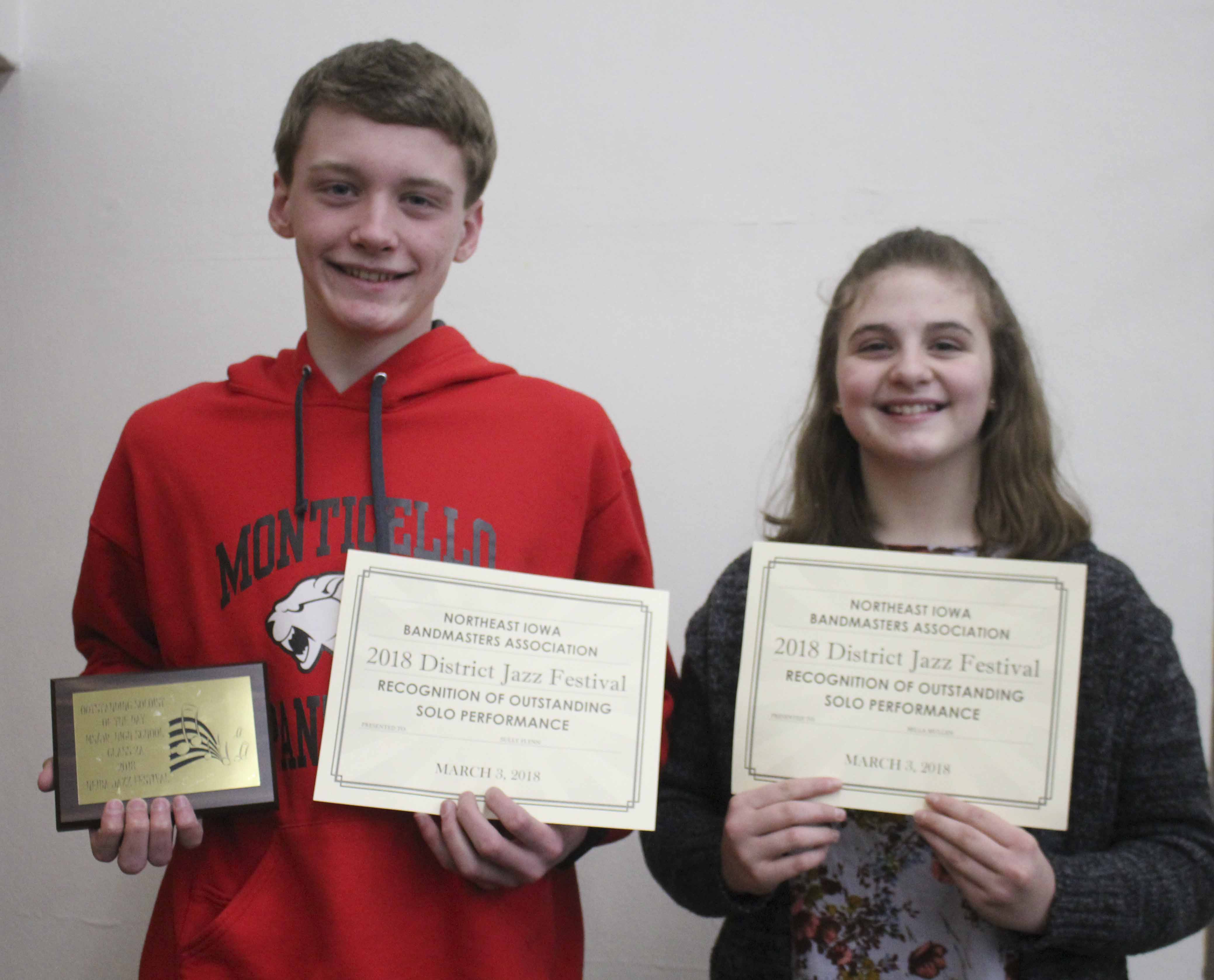 Monticello Middle School students Sully Flynn on trumpet (left) and Bella Mullen on tenor saxophone received outstanding soloist awards at the district jazz contest. Flynn was named Outstanding Soloist of the Day. (Photo by Pete Temple)