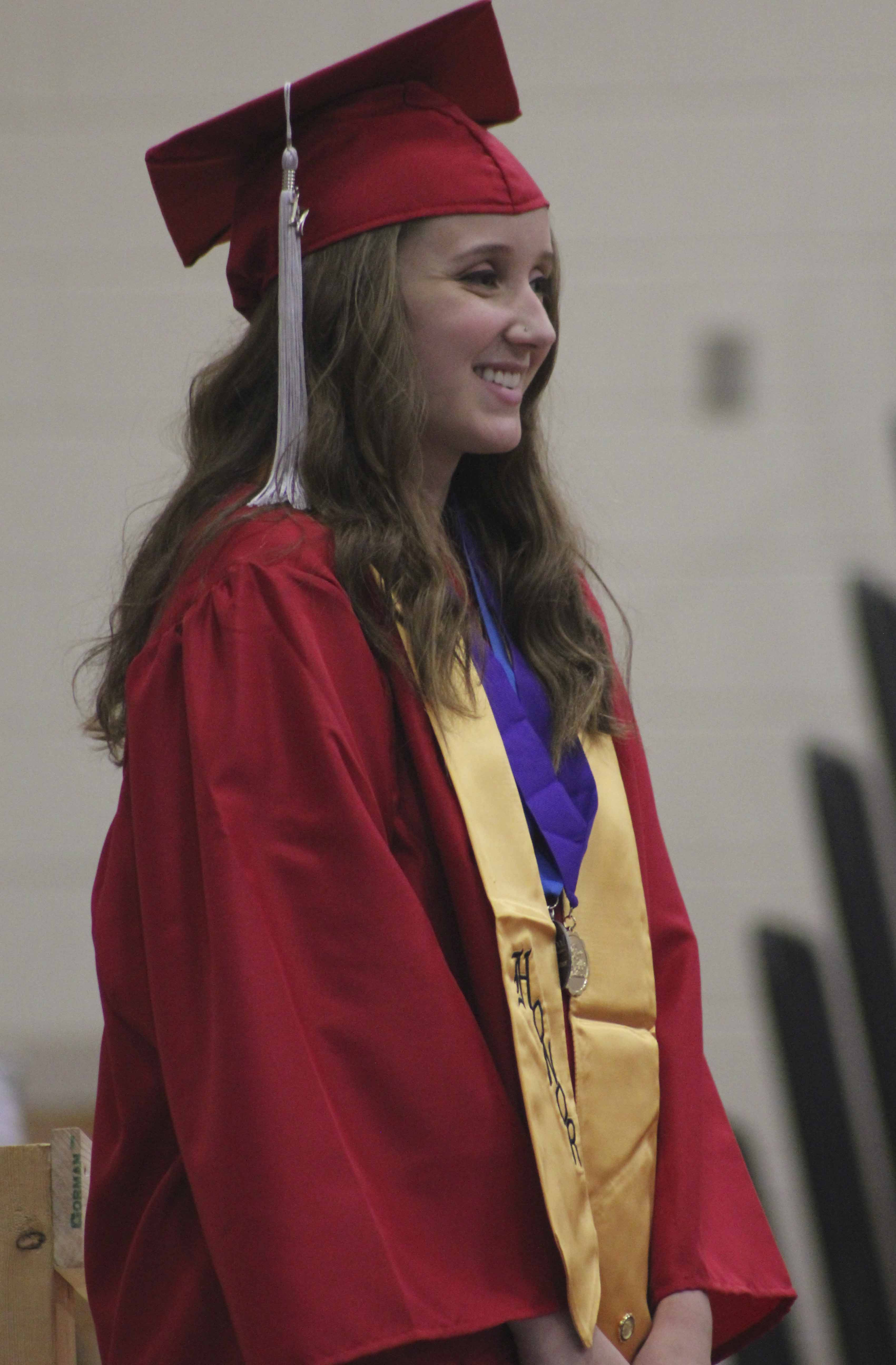 Katelyn Isaac is introduced as Class of 2017 Valedictorian during Commencement Sunday, May 28 at Monticello High School. (Photos by Pete Temple)