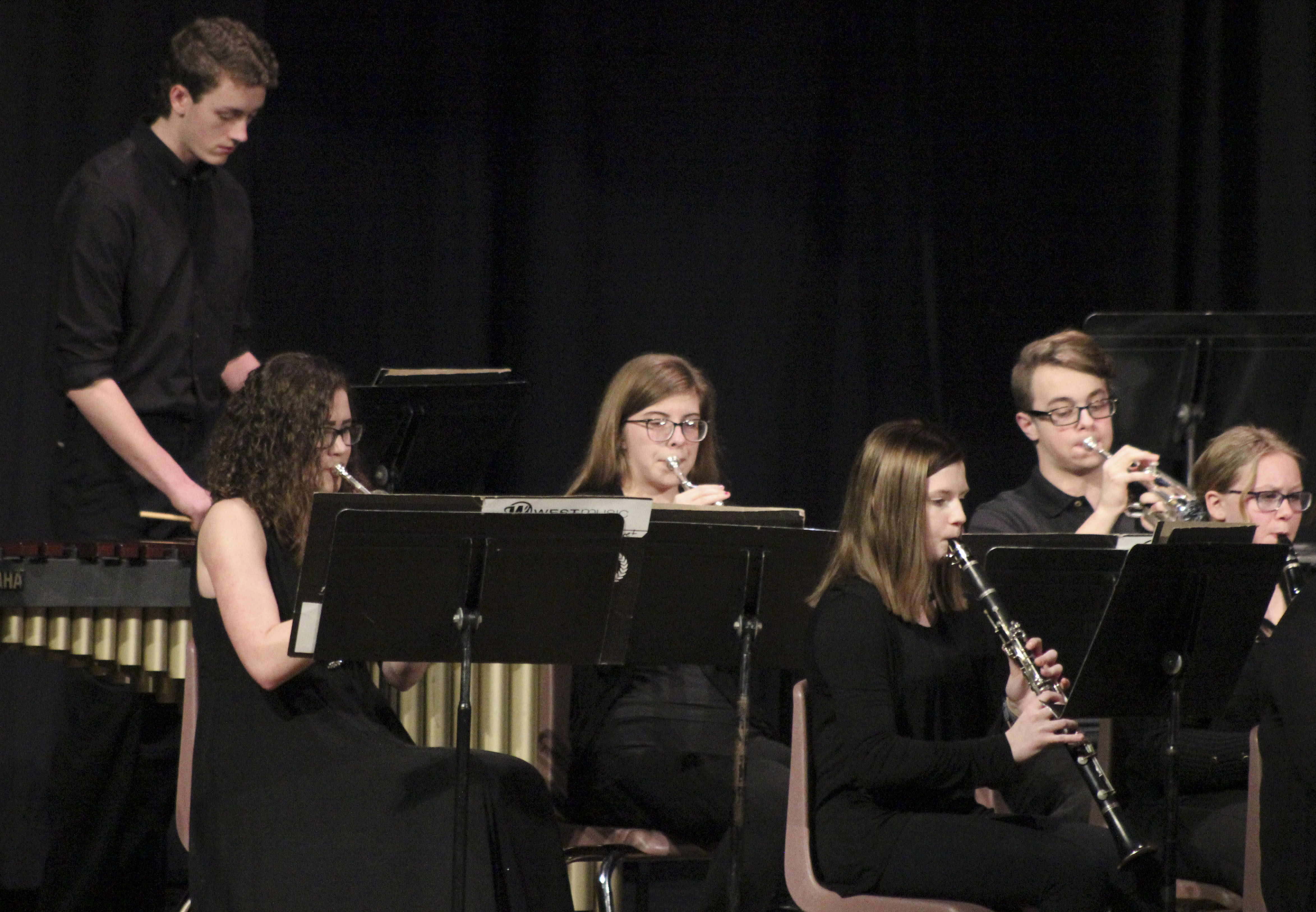 The spring concert of the Monticello High School Symphonic Band was held March 11 in the MHS Auditorium. Among the performers, standing: Daltyn Kramer. Seated from left: Mikayla Coffey, Evee Krouse, Allie Riches, Noah Arduser and Trista DeShaw. (Photos by Pete Temple)