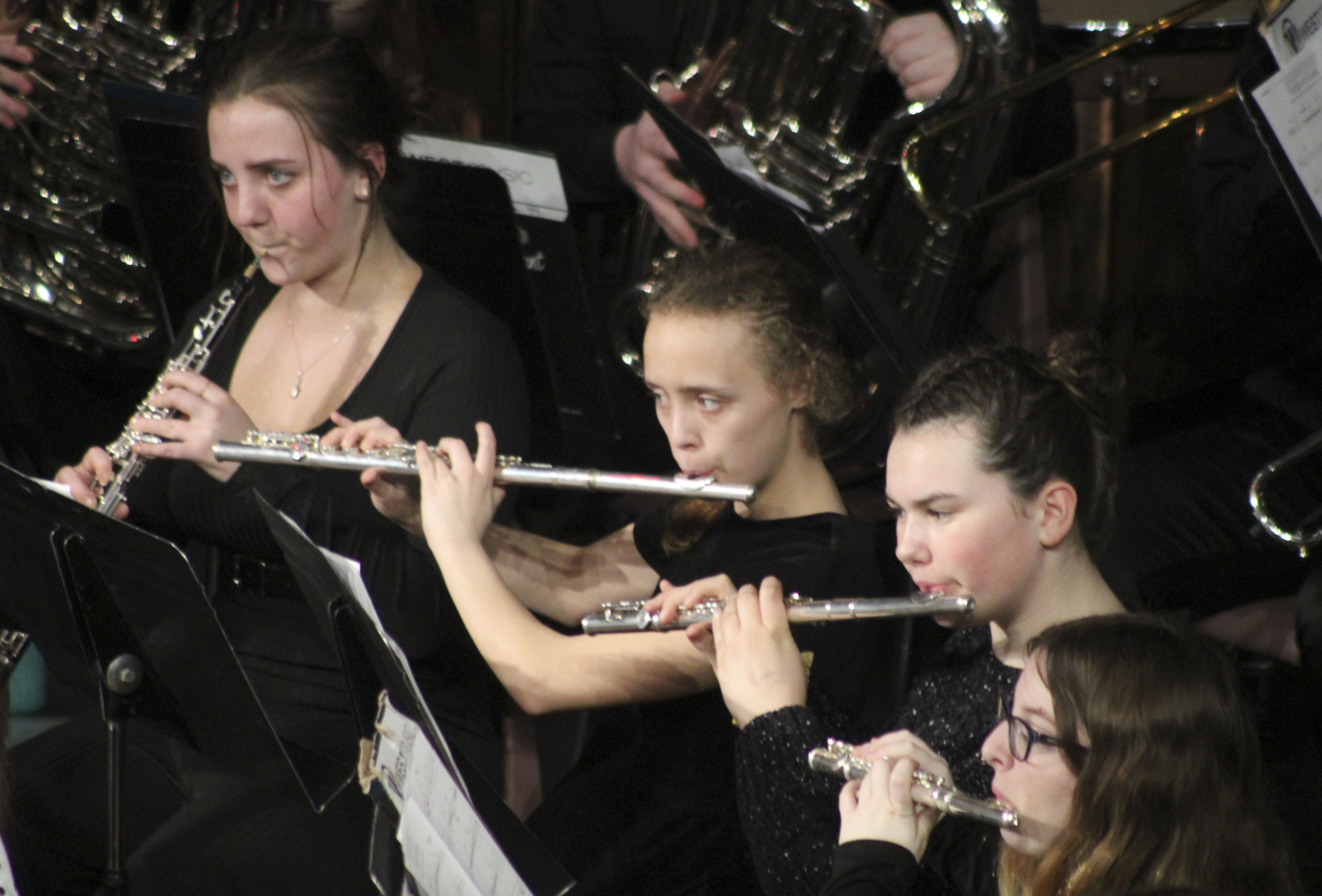 Woodwind performers (from left) Micah Williams, Haley Sly, Breanna Bauer and Angel Larsen take part in the March 2 concert.