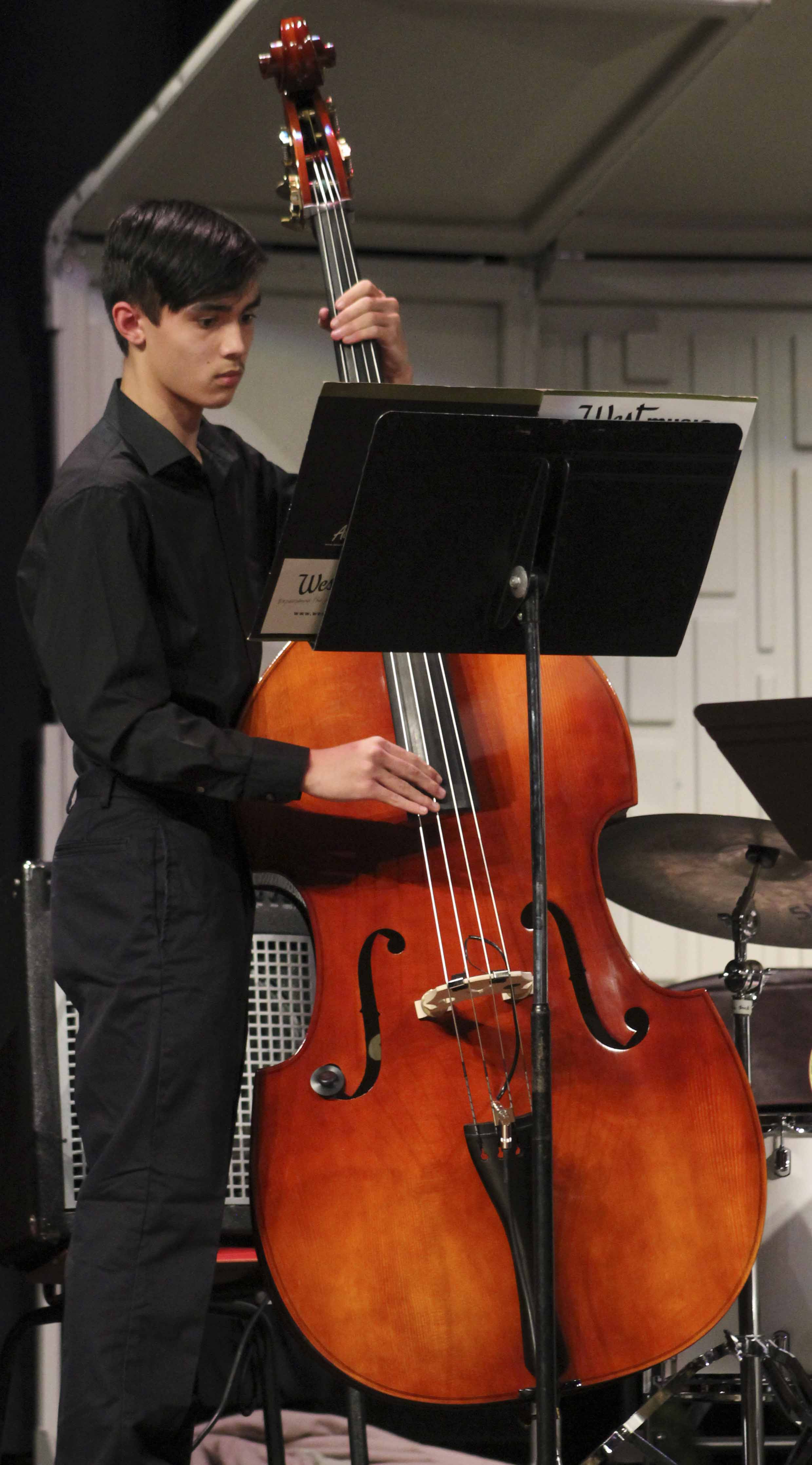 Philip King performs on bass with the MHS jazz band.