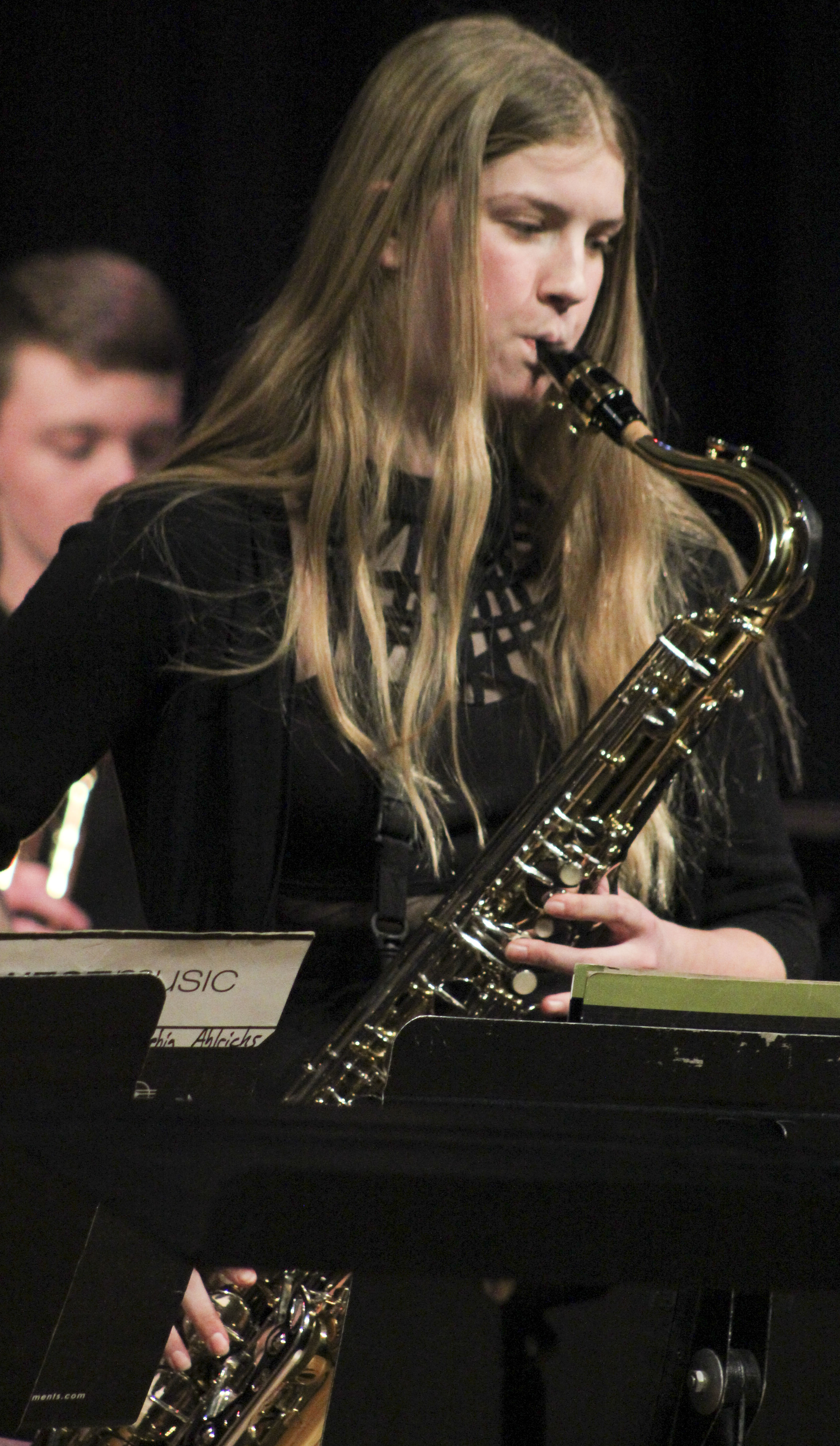 Olivia Besler of the Monticello High School jazz band performs a saxophone solo during An Evening of Jazz, a Feb. 21 concert that featured both the high school and middle school bands. (Photos by Pete Temple)