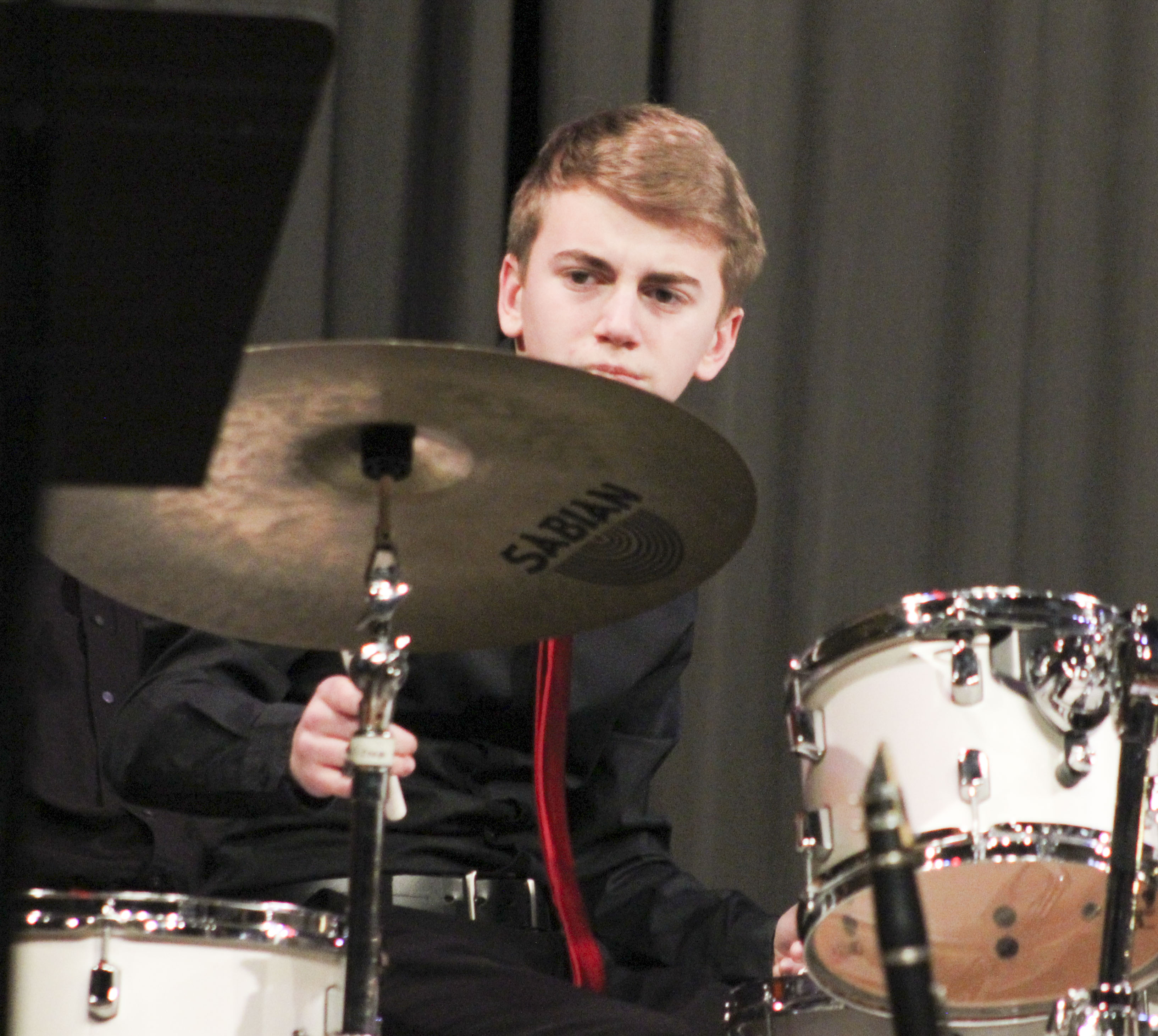 Grant Hospodarsky was one of the percussionists providing the beat for the high school jazz band.