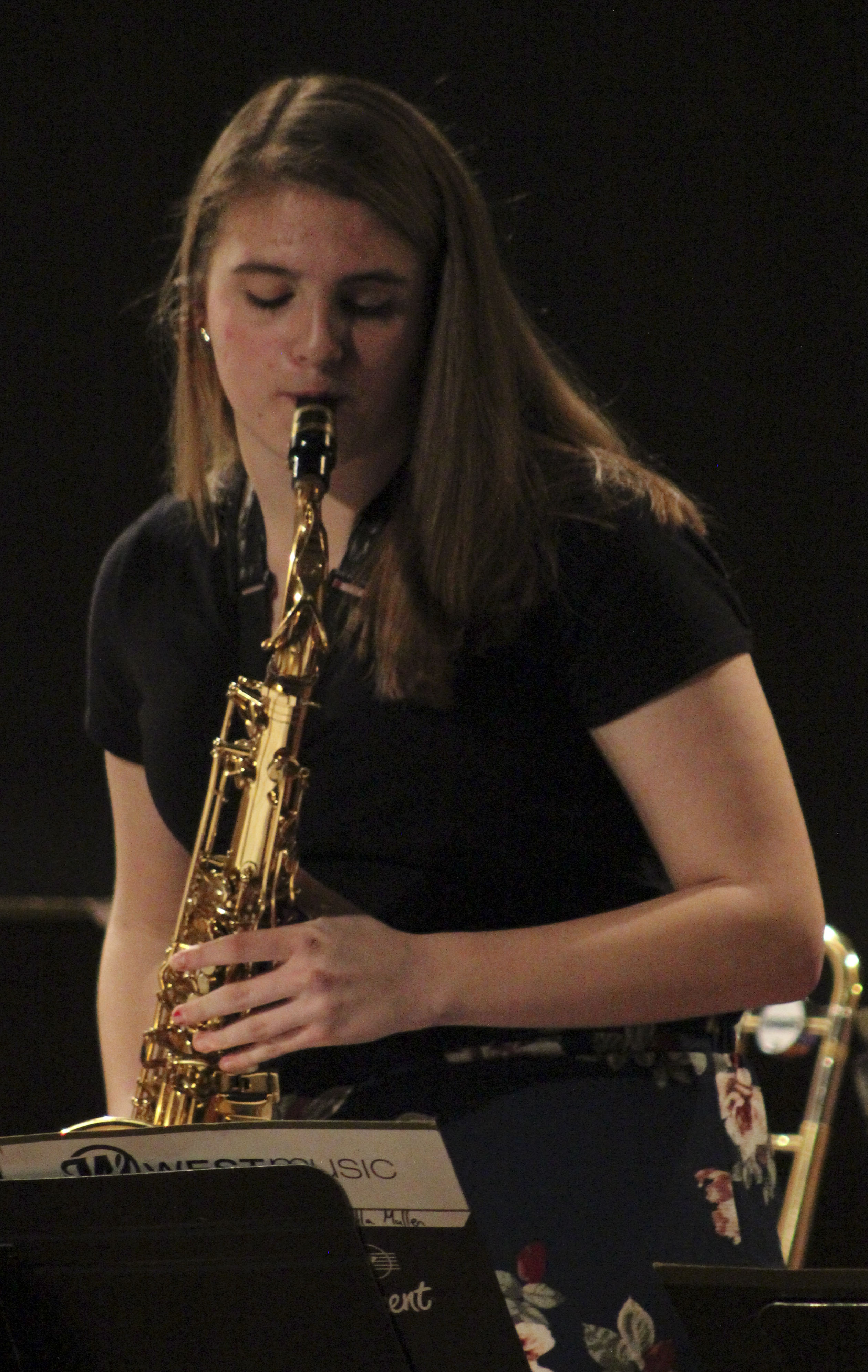 Bella Mullen plays a sax solo with the Monticello jazz ensemble during Jammin' In January.