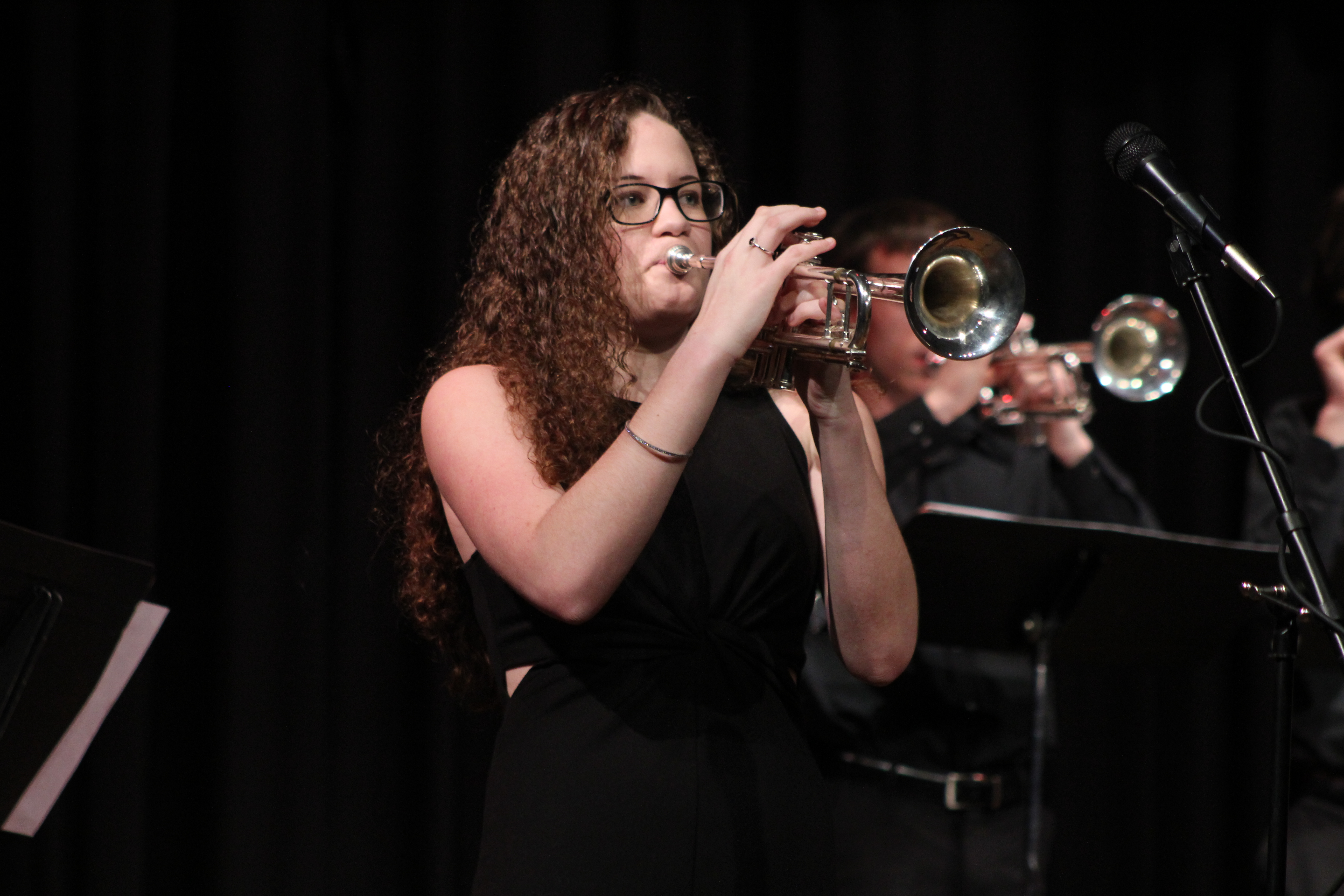 "Makayla Coffey performs a trumpet solo during the high school portion of ""An Evening of Jazz,"" the concert held Feb. 23 in the Monticello High School Auditorium. (Photos by Pete Temple)"