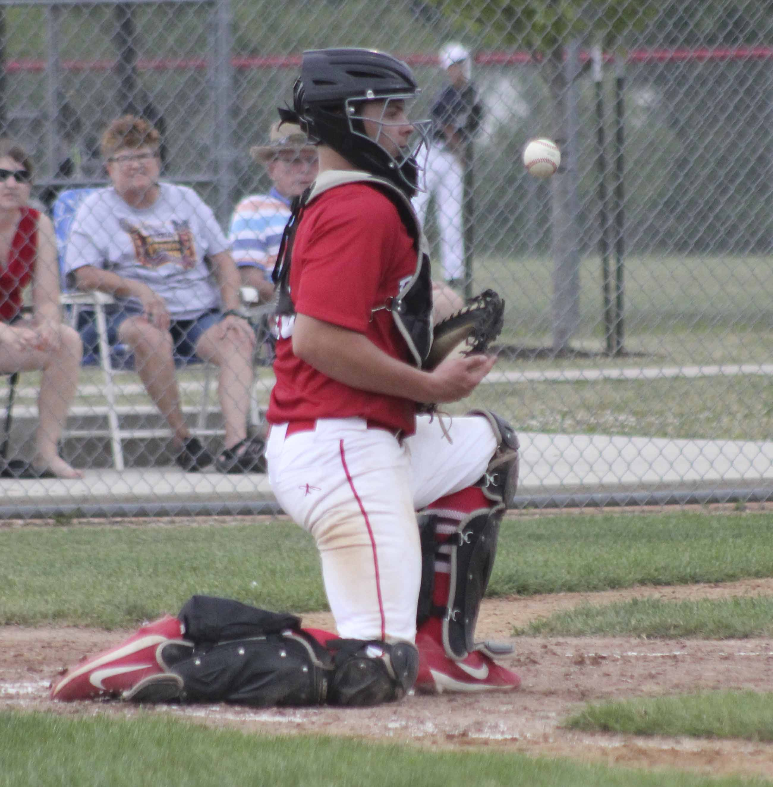 Monticello junior baseball player Jacob Manternach was voted as the First Team All-State catcher for Class 2A by the Iowa Newspaper Association (INA). Manternach, shown blocking a throw this past season, batted .455 with six home runs, 12 doubles, 41 runs batted in, and went 17-for-17 in stolen base attempts. He had an on-base percentage of .518 and a slugging percentage of .758. (Express file photos)