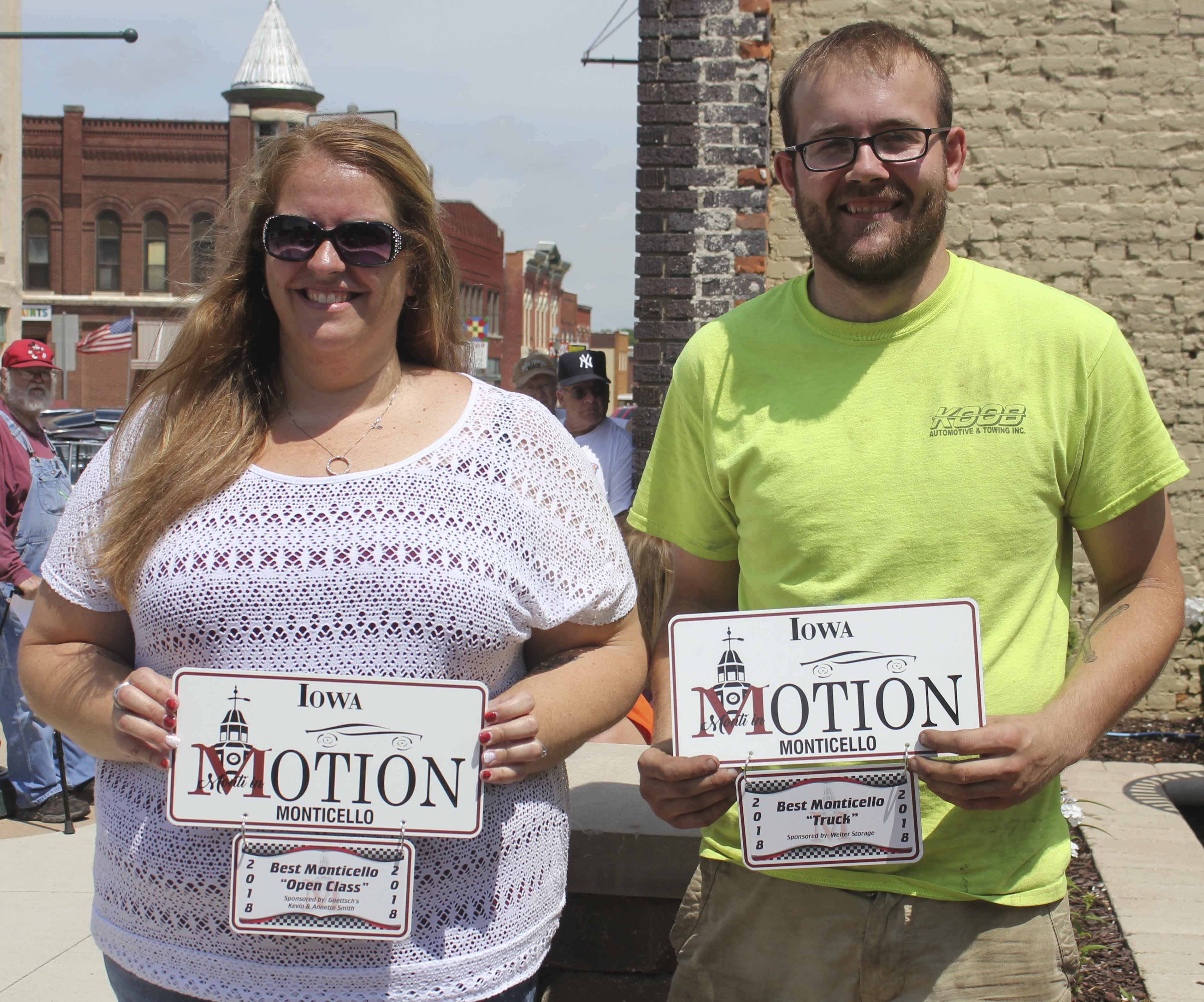 Among the award-winners at Monti in Motion were Denise Nealson of Monticello (left) in the Monticello Open Class for her 1979 Pontiac, and Jacob Clark of Monticello in the Monticello Truck Class for his 1989 Chevy.