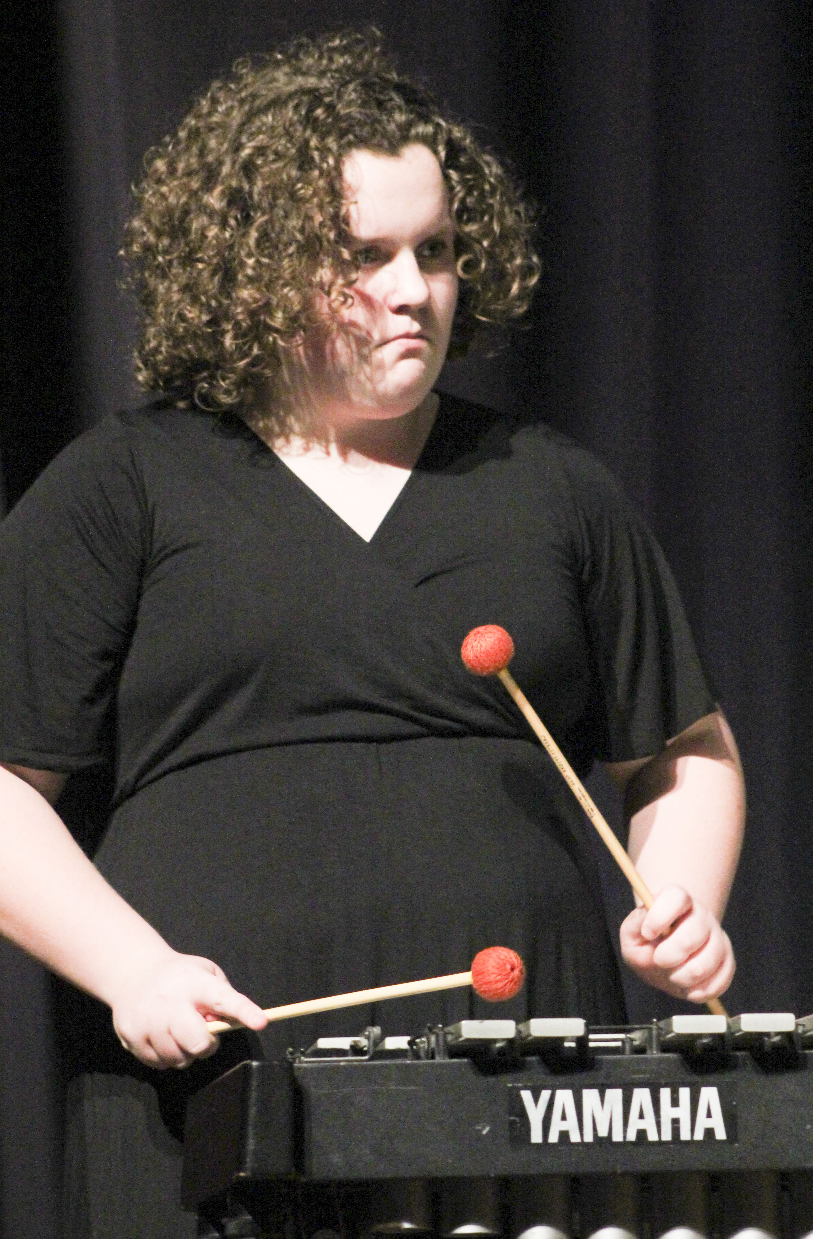 Becky Lang plays vibes with the middle school jazz band Feb. 21.