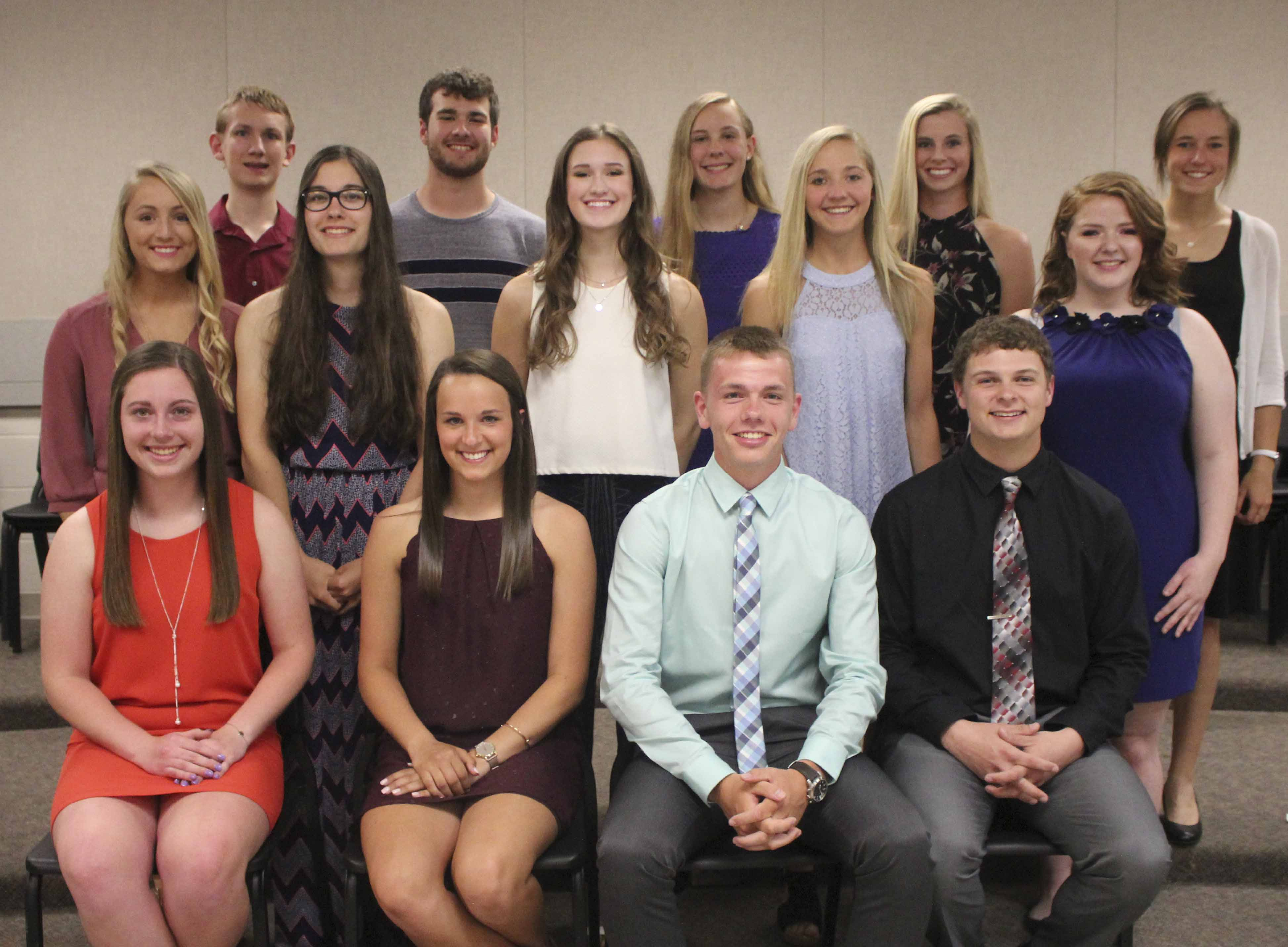 Additional active NHS members, first row from left: Meredith Melchert, Maria Recker, Kyle Sperfslage and Jacob Manternach. Second row: Macy McDonough, Anna Loes, Kate Tuetken, Taylor McDonald and Kiley Wall. Third row: Ryan Oswald, Ryan Manternach, Rachel Larabee, Lauren Ries and Jordyn Patterson.