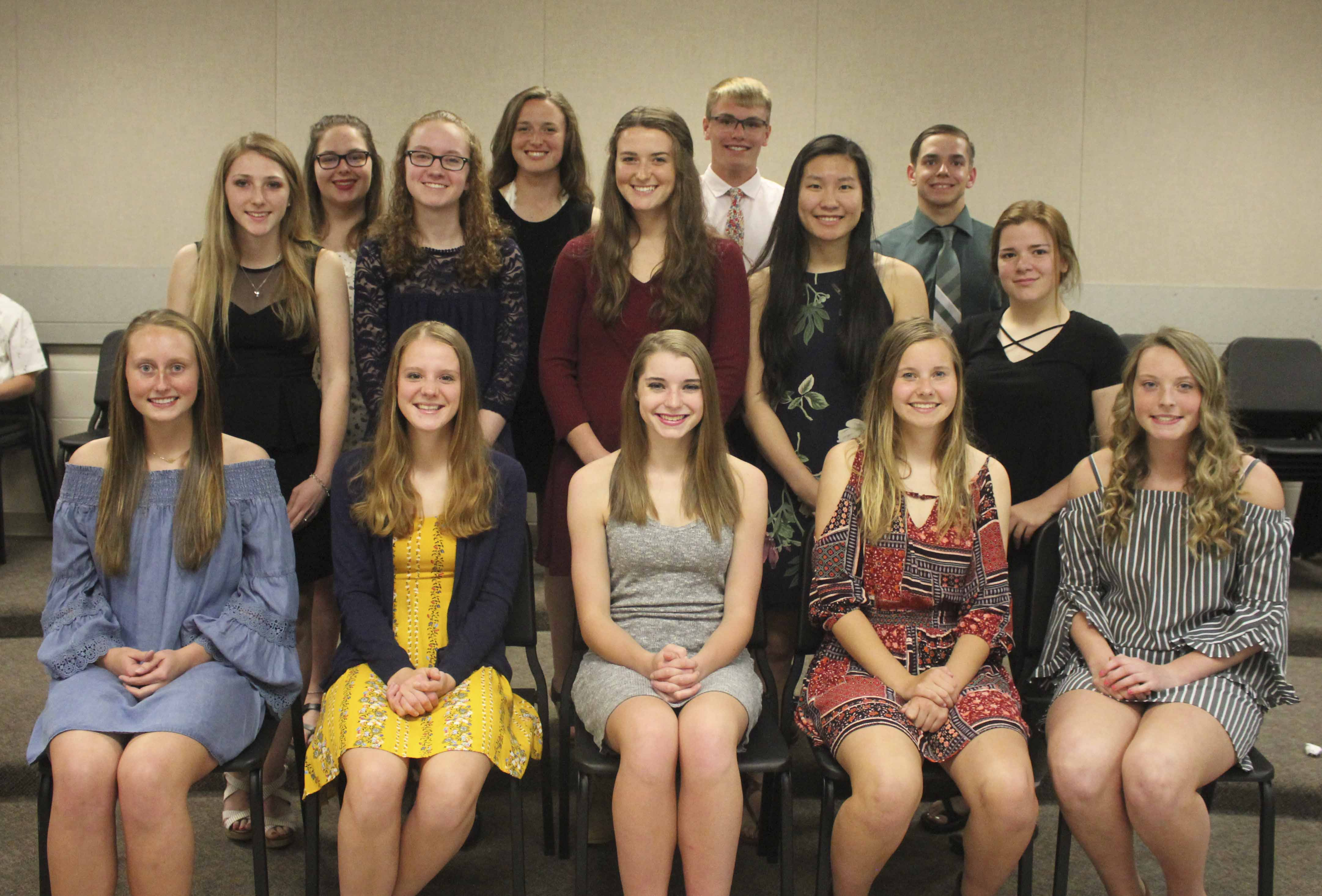Monticello High School held its annual National Honor Society induction ceremony May 22. New members of the NHS include, first row from left: Aspen Gillmore, Natalie Newhard, Marisa Braford, Sophia Ahlrichs and Lydia Franzenburg. Second row: Keeley Anderson, Madelyn Barkema, Chloe Gray, Clara Finger and Brianna Burmahl. Third row: Olivia Goodyear, Sophie Gray, Gavin Cooper and Brody Brokaw. (Photos by Pete Temple)