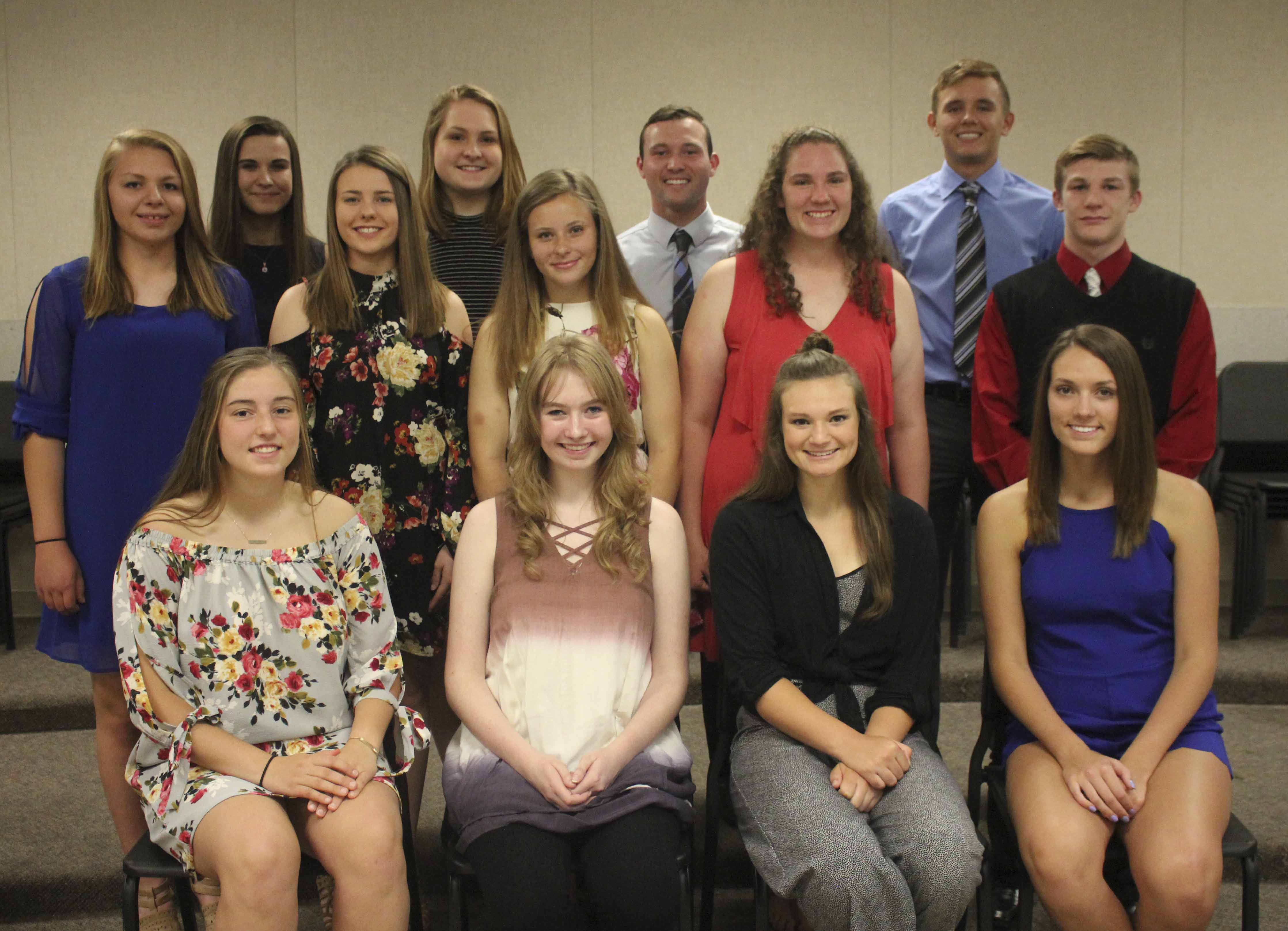 Additional new NHS members, first row from left: Marissa Recker, Presley Tapken, Jaelynn Kraus and Sydney Hansen. Second row: Jordan Lorenzen, Emmi Sampson, Megan James, Marissa McNally and Chase Luensman. Third row: Lilly Lambert, Kenna Melchert, Jonathon Mootz and Avery Martensen.