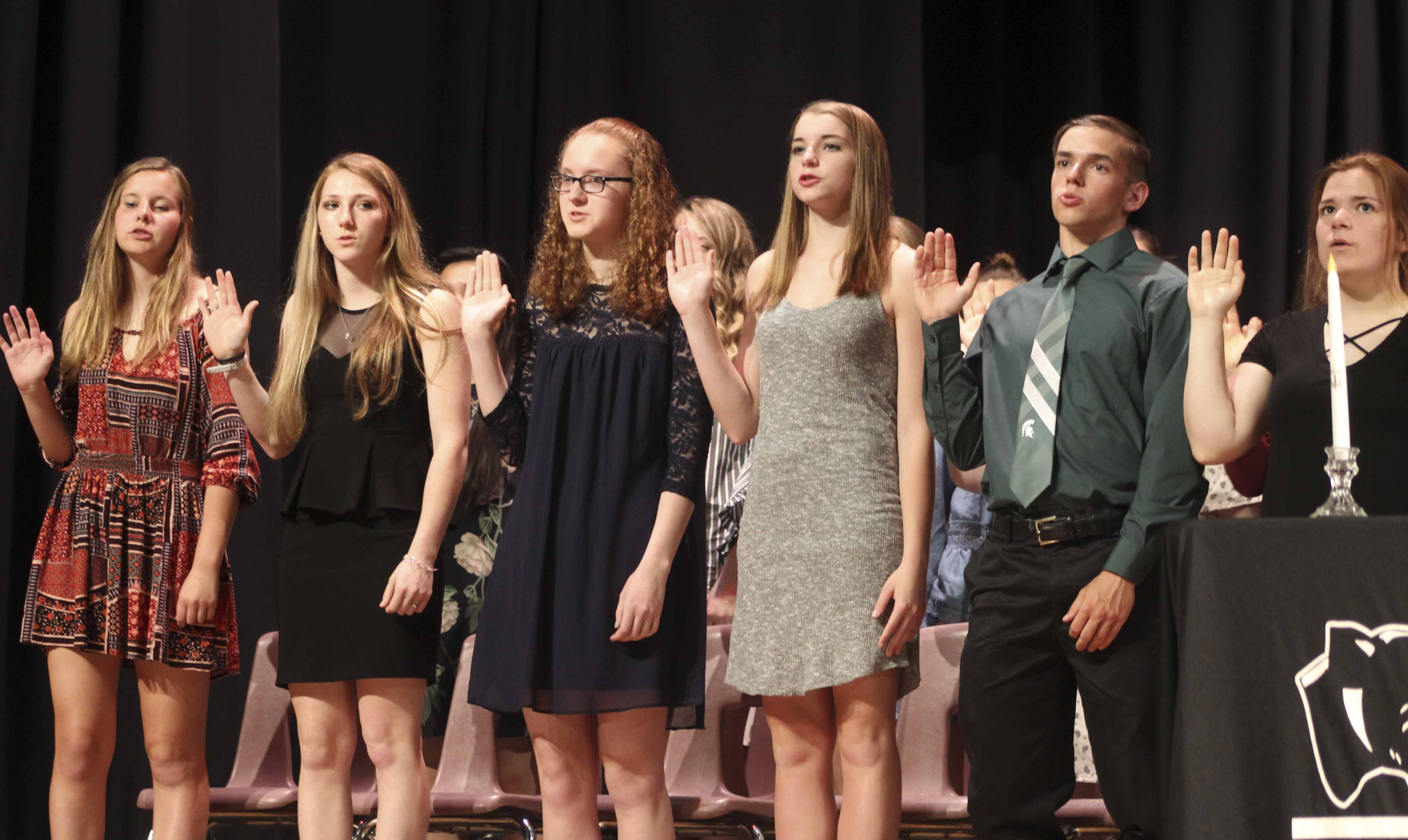 New inductees take the NHS Pledge during the May 22 ceremony. From left are Sophia Ahlrichs, Keeley Anderson, Madelyn Barkema, Marisa Braford, Brody Brokaw and Brianna Burmahl.