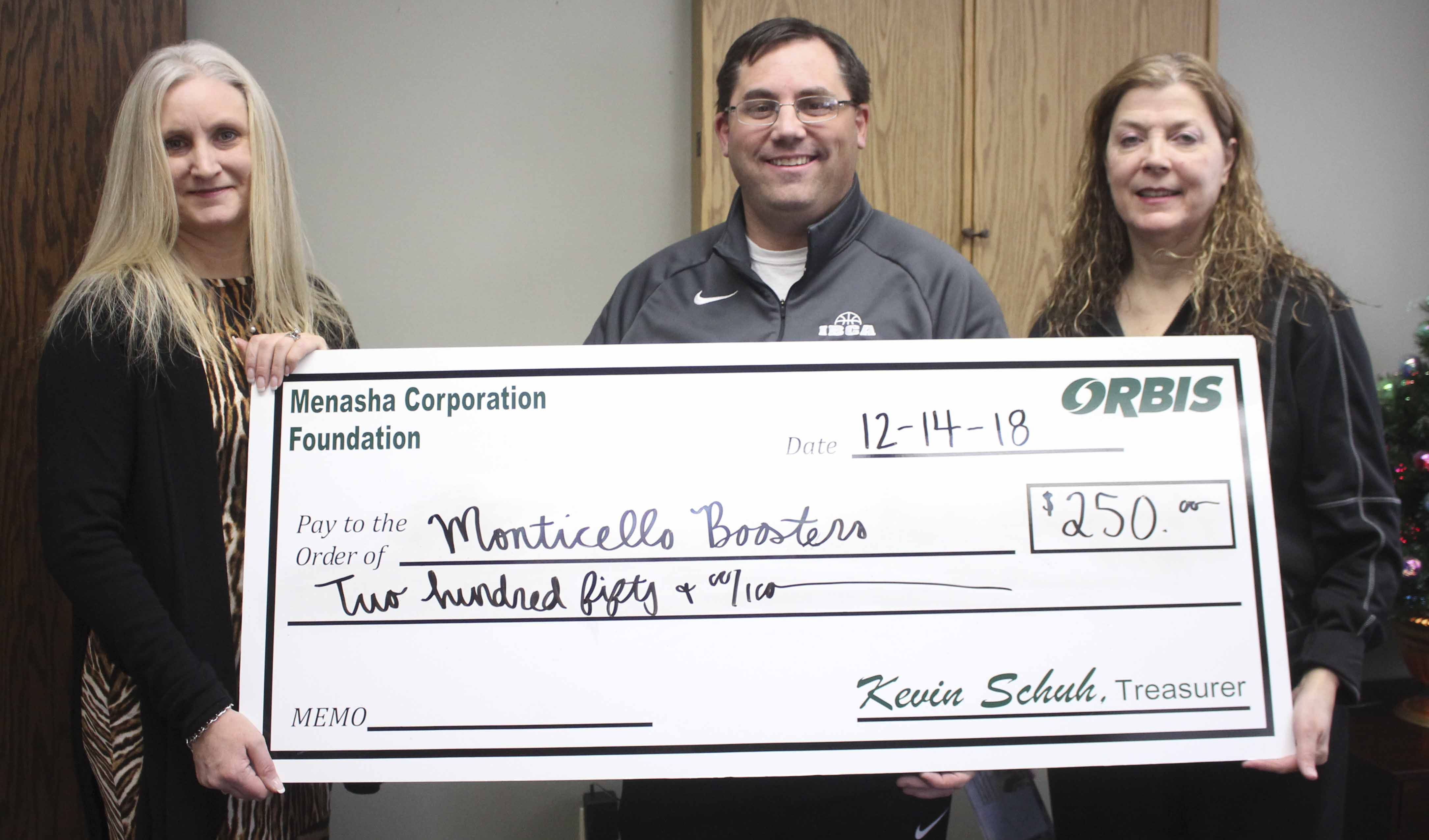 The Monticello Athletic Booster Club received $250. From left are Lynnette Martineau of Orbis, and Tim Lambert and Joan Young, representing the Boosters.