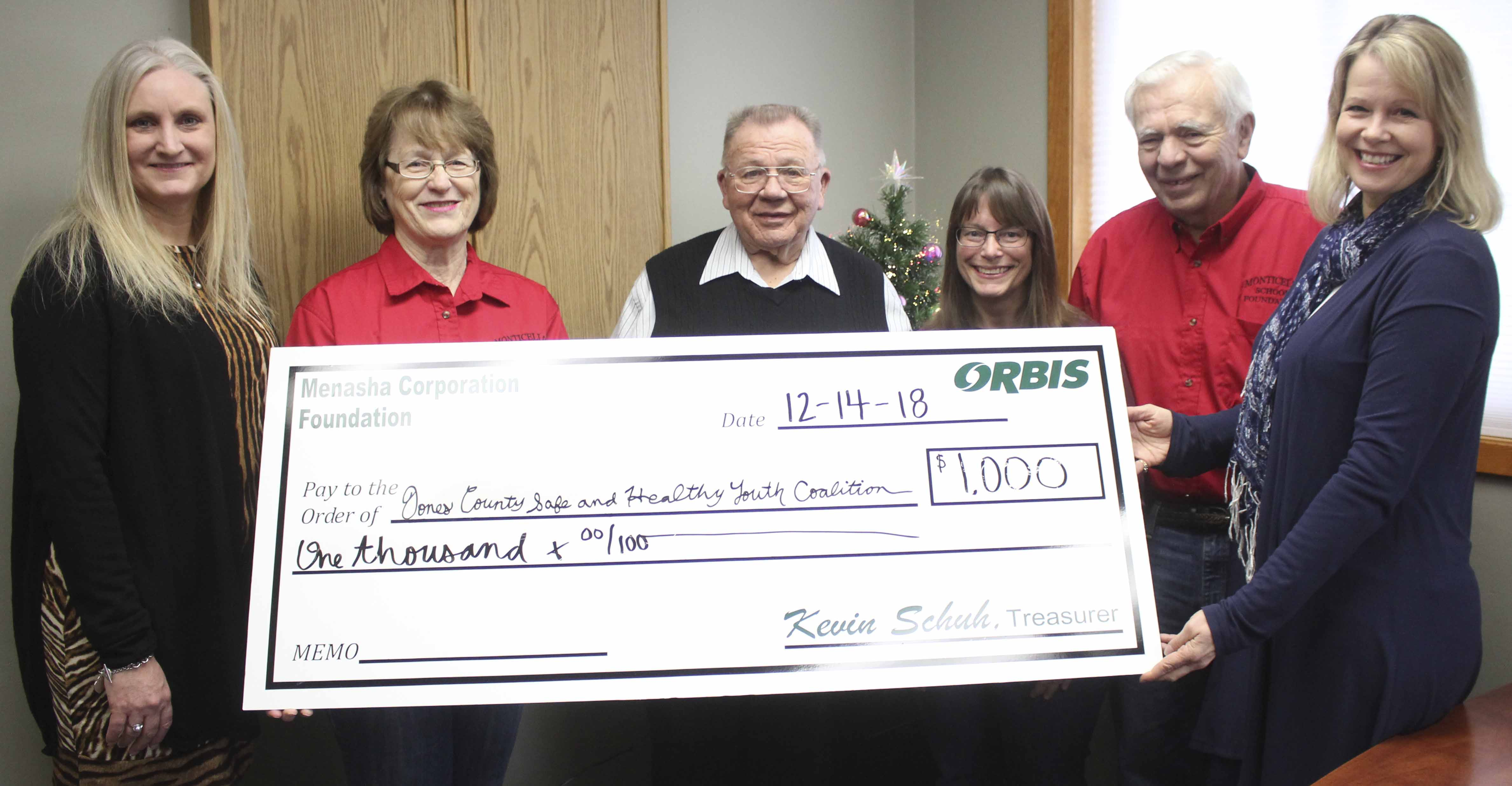 The Jones County Safe and Healthy Youth Coalition received a $1,000 donation from Orbis. From left are Lynnette Martineau of Orbis, and representing the coalition: Audrey Savage, Lloyd Eaken, Brenda Hanken, Steve Williams and Jennifer Husmann.