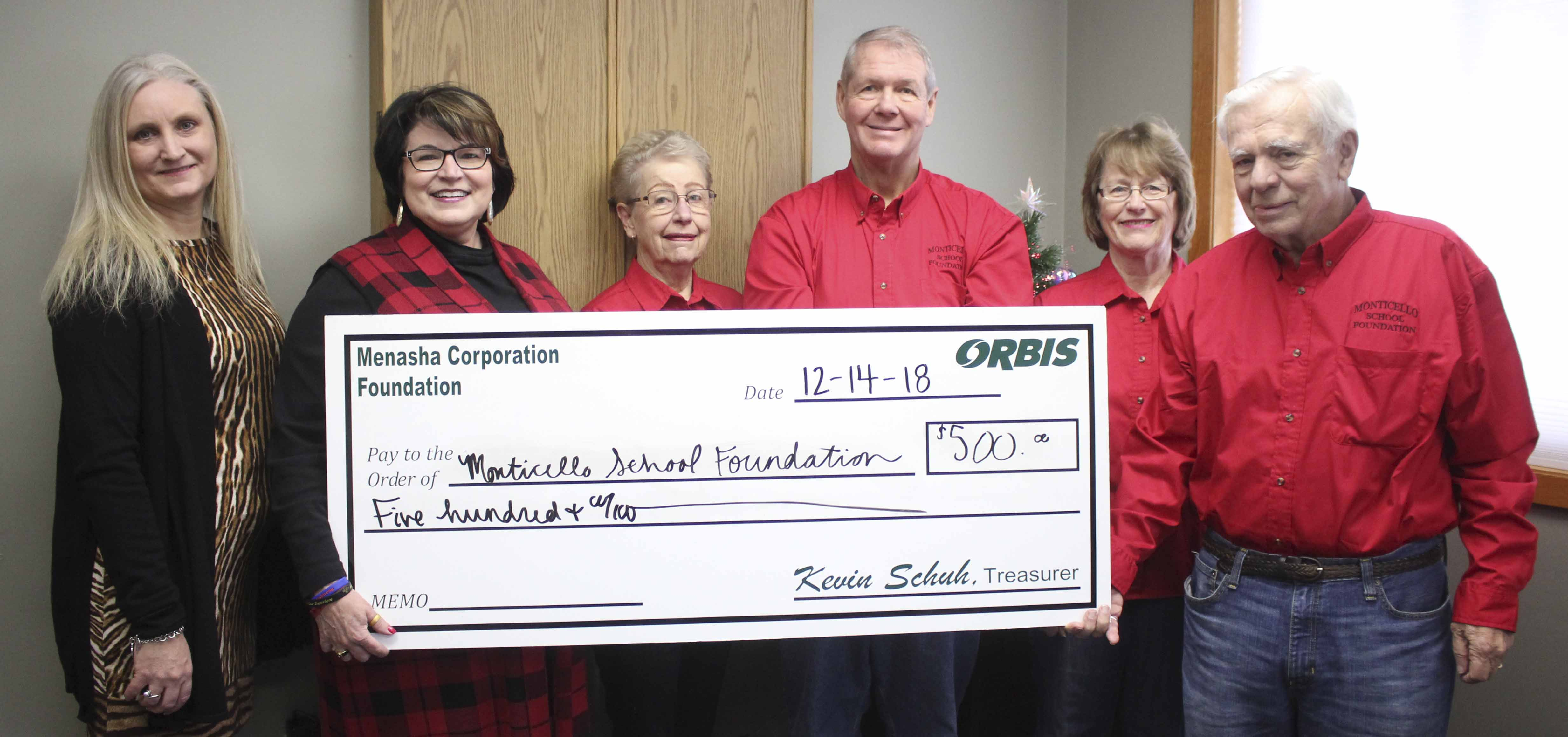 Orbis donated $500 to the Monticello School District Foundation. From left are Lynnette Martineau of Orbis, and representing the foundation: Annette Smith, Winnie Williams, Phil Hanna, Audrey Savage and Steve Williams.