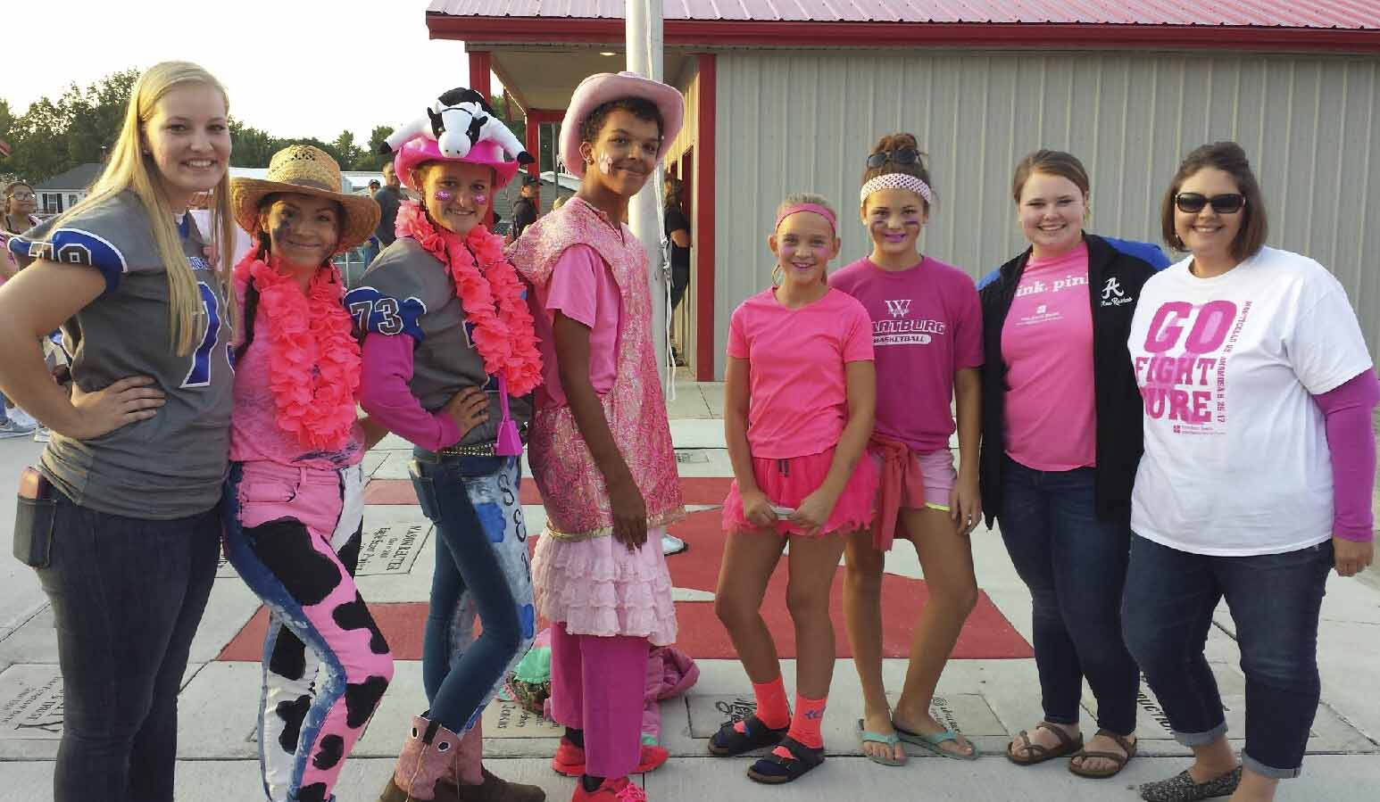 A Pinkout contest was held, sponsored by Jones Regional Medical Center, and five winners earned $10 Subway gift cards from left are Dalaney Reese (judge), Grace Sellnau and Sydney Heims of Anamosa, Autra Fasnacht, Jaelyn Aitchison and Brea Stahlberg of Monticello; and judges Kaci Ginn and Pam Martensen.