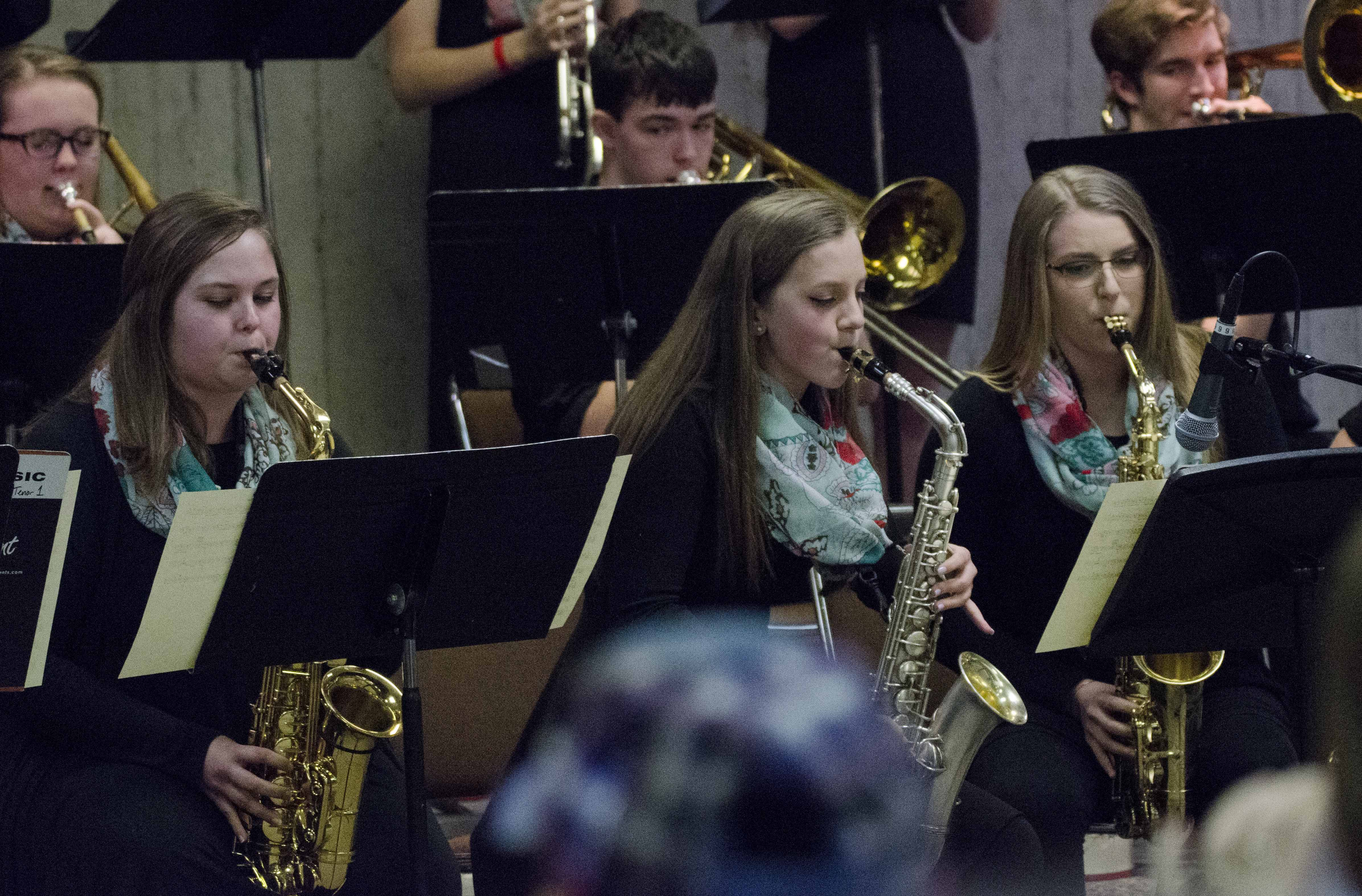 The Monticello Jazz Ensemble participated in the Iowa Jazz Band Championships Monday, April 3 in Des Moines. Among the performers, from left, are saxophone players Olivia Goodyear, Micah Williams and Abbey Beem. (Photos courtesy of Jill Dobel)