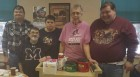Advancement Services of Jones County recently donated coffee and paper supplies to the Monticello Senior Dining Center. From left are Dan Franzenburg, Dirk Miller, Candy Hansen, Shirley Byers, and Tom Zumbrunnen. (Photo submitted)
