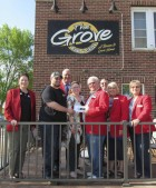 On May 16, the Monticello Chamber Ambassadors enjoyed an evening at The Grove Bar & Grill in Scotch Grove. They welcomed new owners, Brandon and Madalyn Schrader. Front from left are Chamber Director Jan Hoag, the Schraders, and Ambassadors Jerry Retzlaff, Jill Cheney, and Sue Ballou. In back are Ambassadors Pat Recker and Chris Brokaw.  (Photo by Kim Brooks)
