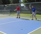Prior to the Chamber Ambassadors' ribbon cutting at the new pickleball courts, some of the ambassadors tried their hand at the sport, including Pat Recker and Tom Keleher. Both played opposite seasoned pickleball players Bud Johnson and Kevin Miller.