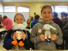 Meredith Parker and Alexia Kracht tore apart stuffed animals and glued them back together using different body parts for the Anti-Valentine's Day Stuffed Toy Remix activity.
