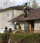 The Monticello Fire Department responded to a call at 856 N. Sycamore St., the home of Susie Benischek, Thursday afternoon, Feb. 2. The fire started in the chimney. The house had smoke damage, as well as damage to the roof. (Photo by Kim Brooks)