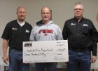 """Black Hills Energy recently made a $750 donation toward the Monticello Fire Department. """"We value our partnerships with our local fire departments,"""" shared Community Affairs Manager Laura Roussell. From left are Black Hills technician Brian Kearney, MFD Chief Don McCarthy, and MFD Training Officer Marv Kelchen. (Photo by Kim Brooks)"""