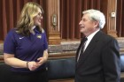 On Feb. 5, Elle Boeding of Scotch Grove, a University of Northern Iowa student senator, spoke with Rep. Andy McKean at the Capitol in Des Moines. They discussed the need for extensive renovation of the UNI Industrial Technology Center. (Photo submitted)
