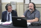Charlie Becker, executive director at Camp Courageous, visits with Frank Balvanz from AM 600 WMT Radio live on the air during the open house. WMT has been a long-time supporter of Camp Courageous.