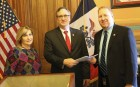 On Feb. 26, Rep. Lee Hein (R-Monticello) filed his nomination petitions to the Secretary of State's Office in Des Moines to seek re-election to District 96 in the Iowa House this fall. Rep. Hein (center) is pictured here with his wife, Jacky, filing his petitions with Secretary of State Communications Director Kevin Hall. (Photo submitted)
