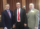 Great Jones County Fair Manager John Harms and long-time fair volunteer and former ISU Extension director Joe Yedlik visited with Rep. Lee Hein last week at the Capitol in Des Moines. Harms and Yedlik were at the Capitol on behalf of the County Fair Association. From left are Harms, Hein, and Yedlik. (Photo submitted)
