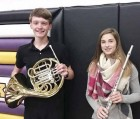 Monticello Middle School students who performed in the NEIBA Honor Band Festival Concert included Sullivan Flynn, French horn; and Lydia Recker, flute. Not pictured is MMS band director Jill Doble.