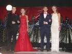 Stopping to be photographed on stage in the Grand March are (from left) Kyle Sperfslage, Taylor McDonald, Avery Martensen and Lauren Ries.