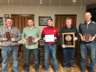The MFD Service Awards were given to, from left, Billy Norton for 10 years, Nathan Spahr for 10 years, Tommy Norton for five years, Joe Bayne for 25 years, and TJ Nealson for 10 years.