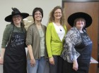 """Following the bake-off, attendees voted on the winner of the best cookies. The winner was Mary Mulligan of Olin. From left are cast member Mary Sue Vernon, Mulligan, second runner-up Sherri Evans of Anamosa, and cast member Nancy Collell. """"The Kitchen Witches"""" is directed by Diana Jones and Susan Wilcox."""