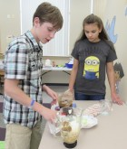 Logan Baugh and Melena Baker worked together to create a spiced pumpkin smoothie. Other flavors included: lemon poppy seed and apple ginger.