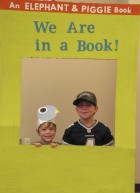 Higdon and Aedan Althoff step inside a Mo Willems book at the photo booth.