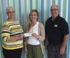 The Monticello Lions Club finished the year with a $2,000 donation for pediatric cancer to the Stead Family Children's Hospital in Iowa City. Presenting the check to Britt Bergquist (center), assistant director of development at the University of Iowa Center for Advancement, are Lions Kay Adams and PDG Kevin Adams. (Photo submitted)