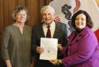 On Thursday, March 8, Rep. Andy McKean (R-Anamosa) filed his nomination petitions to the Secretary of State's office to seek re-election to District 58 in the Iowa House this fall. Rep. McKean is pictured here filing his petitions with his wife, Connie (left), and staff from the Secretary of State's office. (Photo submitted)