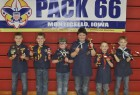 Monticello Boys Scout Pack 66 held its annual Pinewood Derby on Jan. 20 at Monticello Middle School. Placing in the top six were, from left, Ty King, first place; Cameron Pasker, second place; Gage Rickels, third place; Matthew Terry, fourth place; Dylan Shover, fifth place; and Chase Shover, sixth place. (Photos submitted)