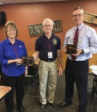 New Monticello Rotary President, Creighton Randolph (center), honors past Rotary presidents Audrey Savage and Eric Briesemeister during a recent Rotary meeting. (Photo submitted)