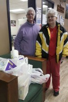 The Royal Neighbors of America donated paper supplies to the Monticello Senior Dining site. Representing the group are Virginia Yossi and Pat Heller. (Photo submitted)