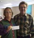 The family of Vivian Rupp (Roger and Dorothy Rupp and Renee Covington) donated $290 to the Monticello Senior Dining site last week in their mother's memory. Pictured are Dorothy and Roger Rupp. (Photo submitted)