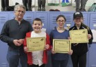 The Sacred Heart sixth graders who placed in the Knights of Columbus Spelling Bee were Nick Welter, first place; Reese Evans, second place; and Kendra Davis, third place. Roman Manternach with the KOC is also pictured. (Photos by Kim Brooks)
