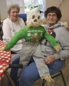 The Monticello Senior Dining site held a mini scarecrow arts and craft class last week. Several seniors took part in the activity, including Kay Funke and Sue Brokaw. (Photo submitted)