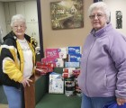 The Royal Neighbors Club 552 recently donated coffee and paper products to the Monticello Senior Dining site. From left are Pat Heller and Ginny Yossi with the Royal Neighbors. (Photo submitted)