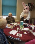 The Monticello Senior Dining Center celebrated Easter last week with a visit by the Easter Bunny. Enjoying the festivities are, from left, Herman Yossi, Glenn King, and Joe Koob. (Photo submitted)